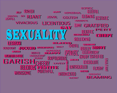 Sexuality word presents human love relation displayed on education text cloud illustration background. Stock fotó