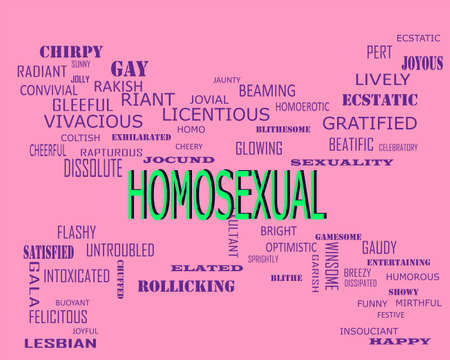 Homosexual word presents human love relation displayed on education text cloud illustration background. Stock fotó
