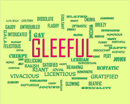 Gleeful word presents human love relation displayed on education text cloud illustration background.