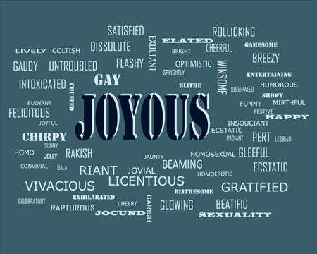 Joyous word presents human love relation displayed on education text cloud illustration background. Ilustração