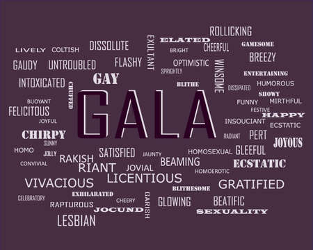 Gala word related with people loving symbol presented on similar word cloud abstract text background.