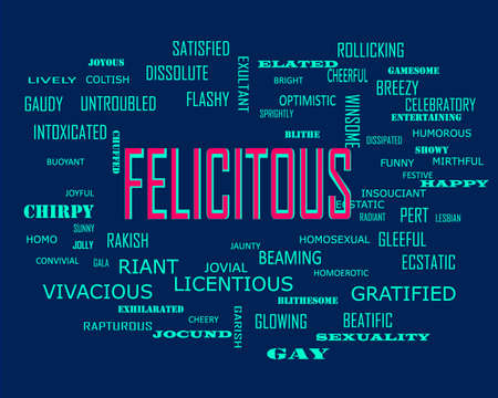 Felicitous word presents human love relation displayed on education text cloud illustration background.