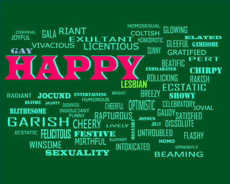 Happy word presents human love relation displayed on education text cloud illustration background.