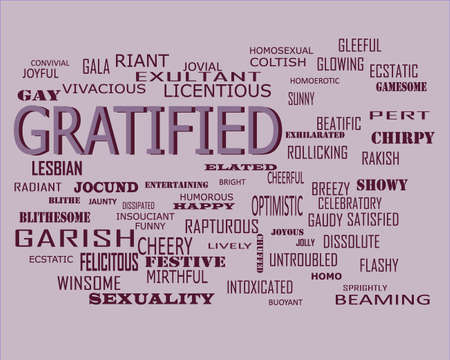 Gratified word related with people loving symbol presented on similar word cloud abstract text background.