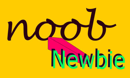 NOOB abbreviations newbie presented with logo pattern on word texture background.
