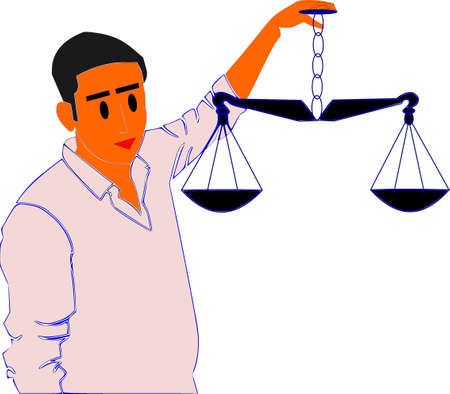 A man holding scales on hand presenting law judiciary symbolic pattern illustration art cartoon style.