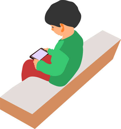 An indian village kid cartoon watching mobile on isolated background, seating at stone table. Illusztráció