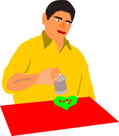 An indian man cartoon making traditional pan on red surface wearing yellow shirt at isolate posture.