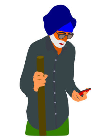 An indian village poor old man cartoon watching smart phone technology wearing traditional clothes. Illustration