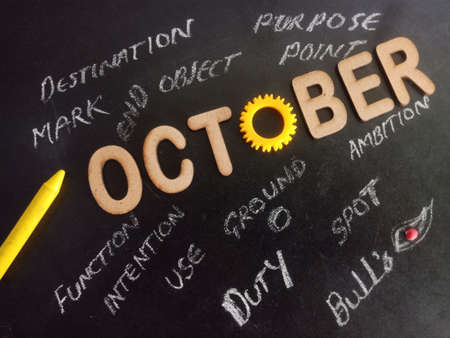 October word presented with multiple business related terminology on black board at educational concept.
