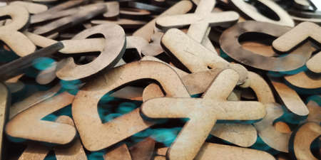 Alphabetic word with wood concept on education pattern style displayed on illustration art abstract.