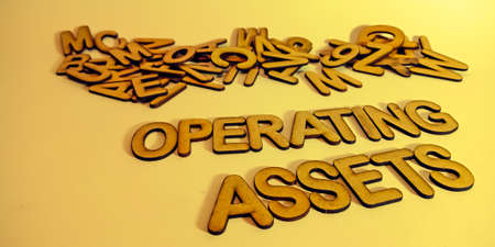 Operating Assets word communication art abstract visible at beautiful business abstract purpose. Archivio Fotografico