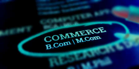 B Com Commerce course name business text highlighted on educational frame art abstract.