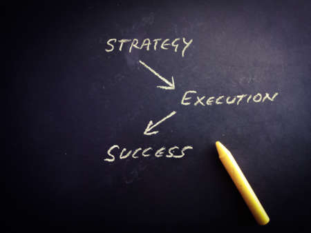 Strategy execution success business word presented with drawing art black chalkboard pattern for learning purpose.
