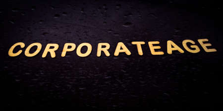 Corporate word presented on black board with wooden text art texture at educational style. Archivio Fotografico