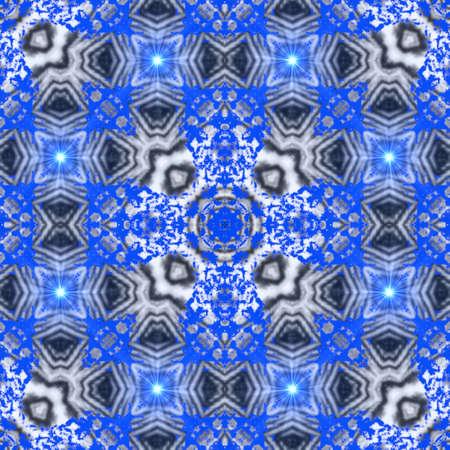 Blue supernova Creative bright mandala. Kaleidoscope abstract sacred geometry. Ethnic fractal artwork. Symmetric stylish graphic design pattern for fabric,