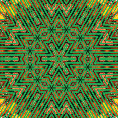 Abstract geometric green background with black triangular cells for design. Bright gold digital illustration with polygons on a dark background.