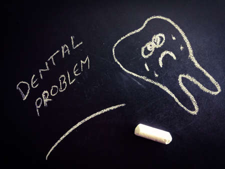 Dental problem word with teeth art displayed on chalkboard for learning and awareness terminology for education purpose.
