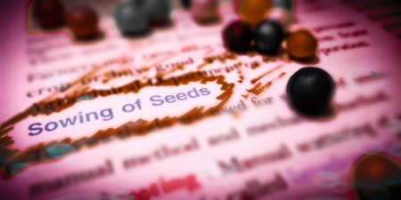 Sowing of seeds word highlighted with closeup view on book word educational related terminology presented for students awareness.