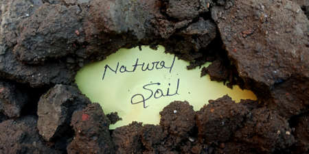 Natural soil word displayed on paper slip concept for educational informative awareness.