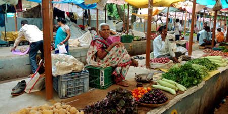 DISTRICT KATNI, INDIA - AUGUST 14, 2019: Asian village elderly woman selling veggie at indian vegetable green fresh agriculture produce market.