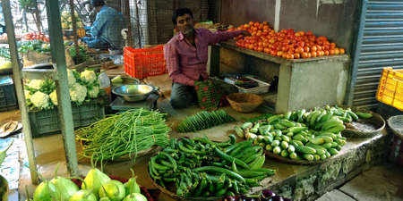 DISTRICT KATNI, INDIA - OCTOBER 13, 2019: An indian village greengrocer selling fresh agricultural goods at vegetable market in asian street.