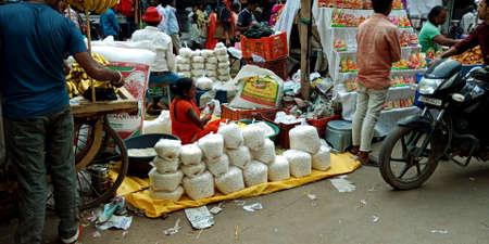 DISTRICT KATNI, INDIA - OCTOBER 19, 2019: Indian traditional god offering kept for sale on street bazaar shop during hindu diwali festival.