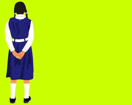 An indian government school girl cartoon standing alone on yellow background abstract art for educational concept.