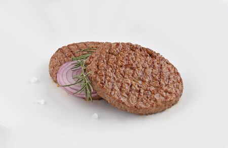 steak burger, minced meat grilled with spices and onion on white background