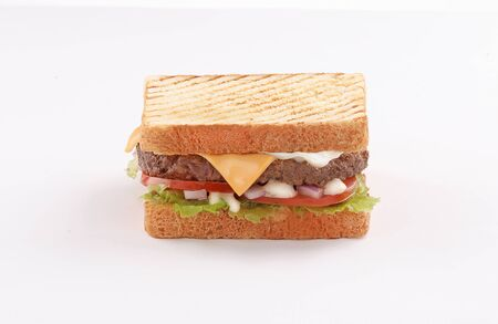 single and double beef burger with cheddar cheese and toast bread on white background Reklamní fotografie