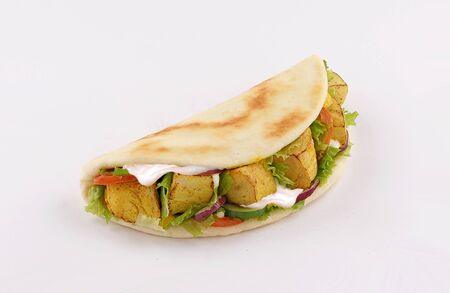 shish taouk, curry tandoori sandwich in naan bread, on white background Reklamní fotografie