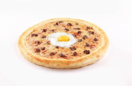 pizza minced meat with egg and onion on white background
