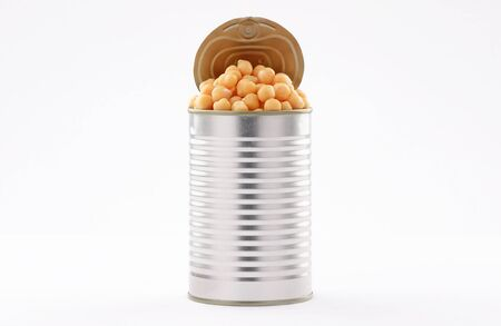 open tin cans Legumes chickpeas canned food Aluminum on white background
