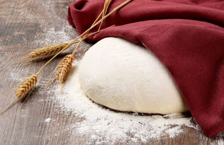 dough under napkin with Wheat ears and Sprinkles of flour on wood background