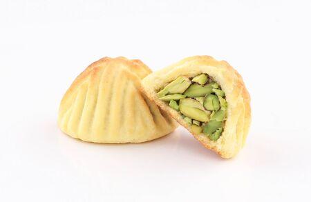 arabic oriental cookies pistachio maamoul isolated on white background Zdjęcie Seryjne