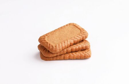 caramel biscuits isolated on white background Stockfoto