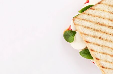 toast bread sandwich mozzarella cheese with basil and tomato top view isolated on white background