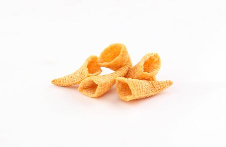 golden cone corn chips isolated on white background