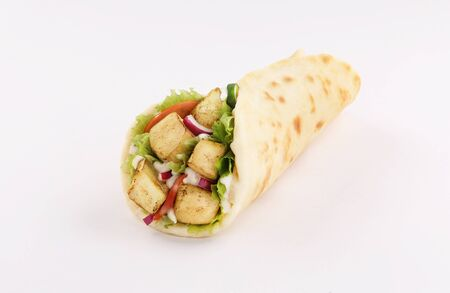 naan bread wrap sandwich shish taouk, curry tandoori with tomato and red onion, front view isolated on white background