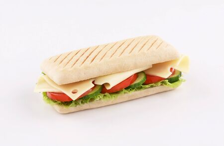 panini sandwich emmental cheese with salad, tomato , lettuce isolated on white background Stockfoto