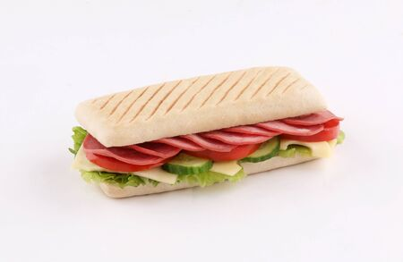 panini sandwich salami with cheese and salad isolated on white background Stockfoto