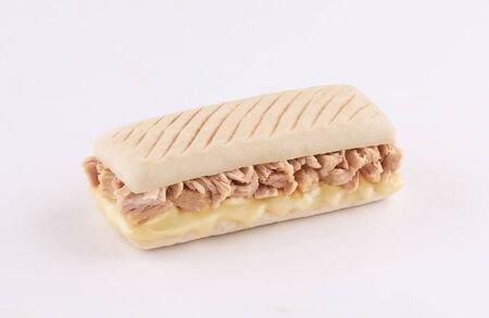 panini sandwich tuna with melted mozzarella cheese isolated on white background