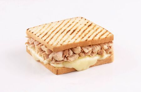 toast bread sandwich tuna with melted mozzarella cheese isolated on white background Stockfoto