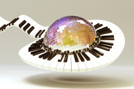 Piano Key around Disco Ball Stock Photo