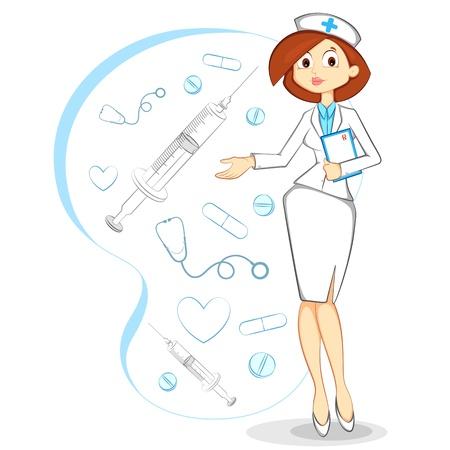 pielęgniarki: Wektor Kobieta PielÄ™gniarka Ilustracja