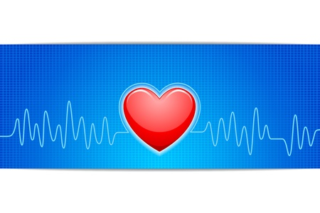 heart ecg trace: Heart with ECG Graph