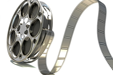 movie film: 3d Film Reel Stock Photo