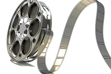 cinta pelicula: Carrete de pel�cula en 3D Foto de archivo