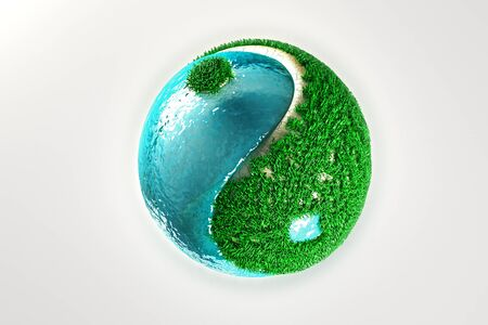 Yin Yang with grass and water Stock Photo - 12914346