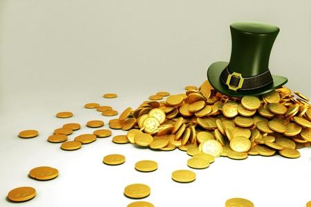 saint patrick s: Saint Patrick s Hat with gold Coin Stock Photo